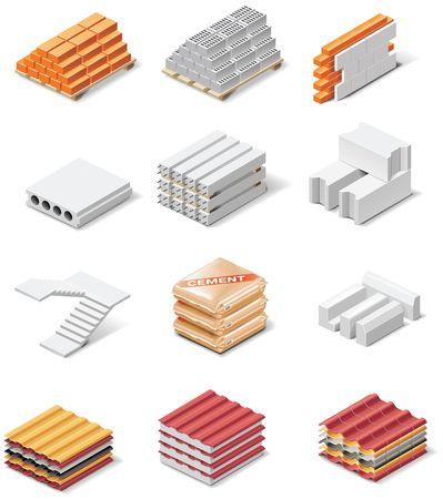 de bouw van producten pictogrammen. Deel 1. Concrete elementen Vector Illustratie