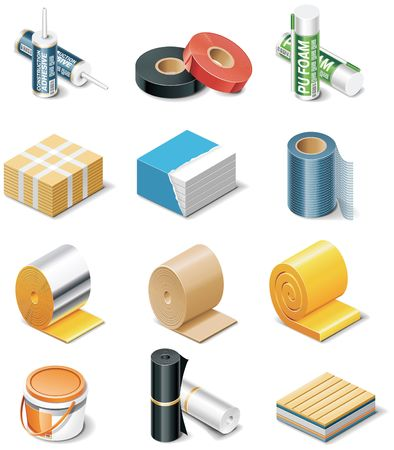 building products icons. Part 2. Insulation Vector