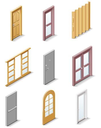 wooden window: building products icons. Part 3. Doors