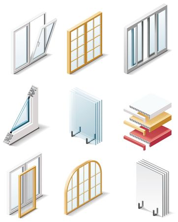 wooden window: building products icons. Part 4. Windows