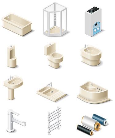 building products icons. Part 5. Sanitary engineering Vector