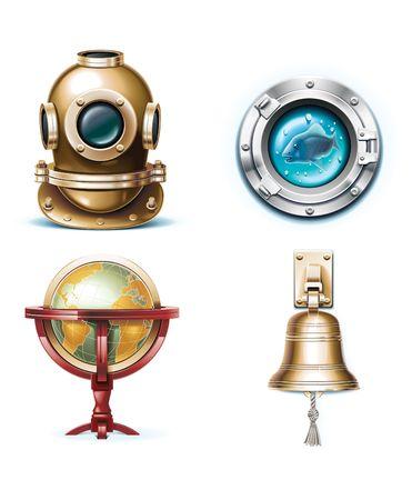 icônes de voyage maritime. Partie 1  Vecteurs