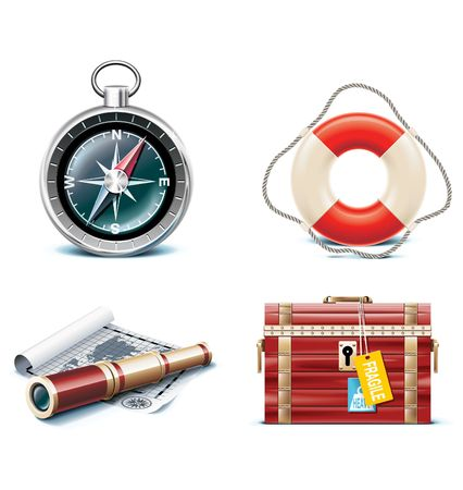 marine travel icons.  Vector