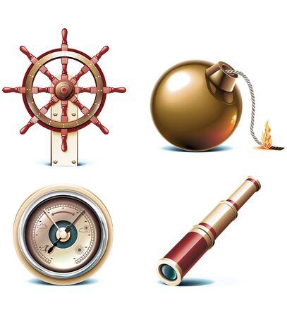 timon de barco: iconos de viajes marinos.