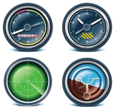 velocímetro: Iconos de viajes y vacaciones. Parte 5  Vectores