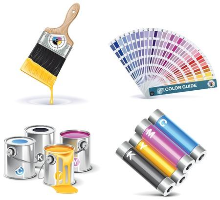 estampado: conjunto de iconos de imprenta.  Vectores