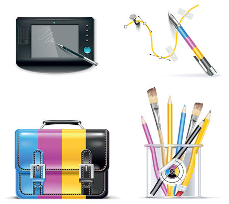pen tablet: print shop icon set. Part 3
