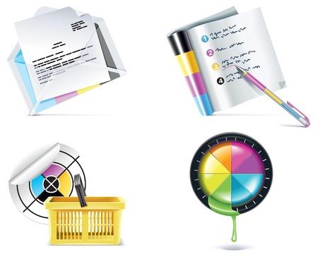 offsetdruck: Druckerei-Icon-Set. Teil 4  Illustration