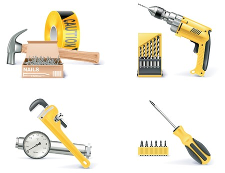 drill bit: Homebuilding , Renovating icon set Illustration