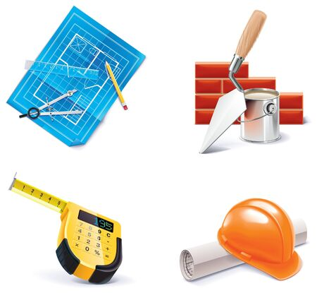 draftsman: Homebuilding  Renovating icon set.