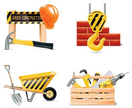 Homebuilding Renovating icono conjunto. Ilustración de vector
