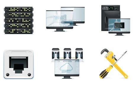 conectores: Conjunto de iconos de equipo. Parte 2  Vectores