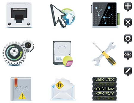 Server administration icons. Part 3 Vector