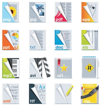 Set of the files and folders icons Vector