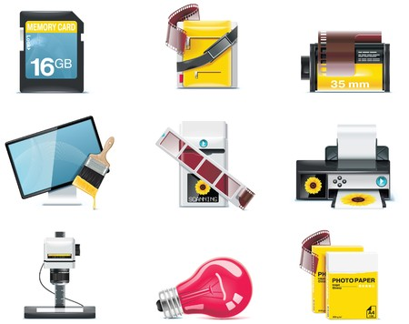 enlarger: Vector photography icons. Part 2