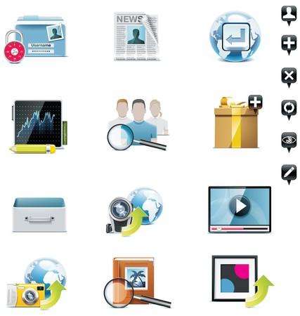 contact icon: sociale media icon set. Deel 3  Stock Illustratie