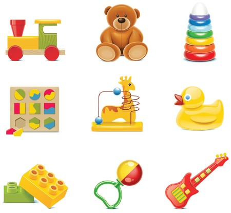ícones de brinquedo. Brinquedos do bebê