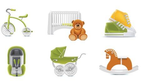 calzado de seguridad: Iconos de beb� de vector. Parte 2