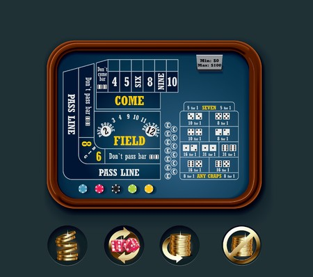 craps table layout (small) Vector Illustration