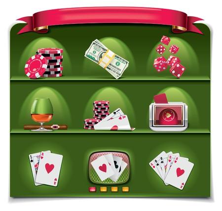 wagers: conjunto de iconos de juegos de azar. Parte 1 (fondo verde)