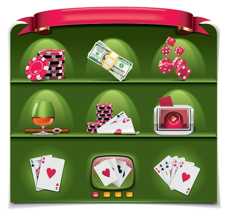 poker chips:  gambling icon set. Part 1 (green background) Illustration