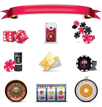 casino chips:  gambling icon set. Part 2 (on white) Illustration