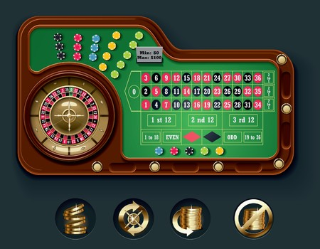 table set: European roulette table layout Illustration