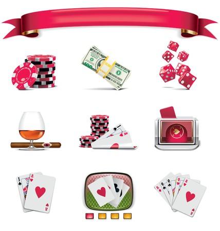 poker chips:  gambling icon set. Part 1 (on white) Illustration