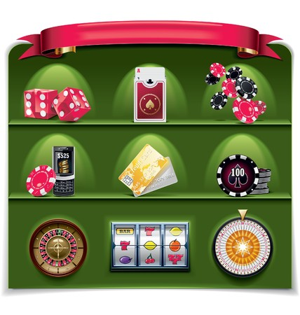 playing with money:  gambling icon set. Part 2 (green background)