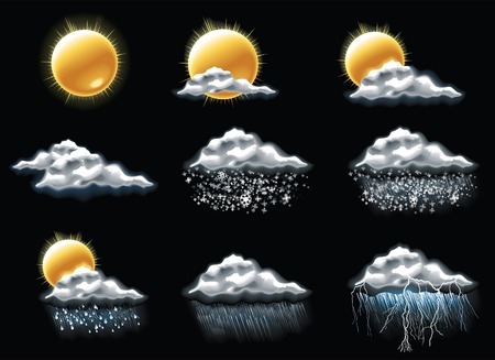 rainy season: weather forecast icons. Part 1
