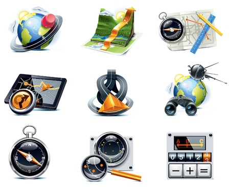 cutaway:  GPS navigation icons. Part 1 Illustration
