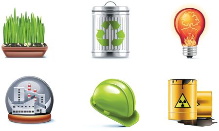 barrel radioactive waste: ecology icon set. Part 2