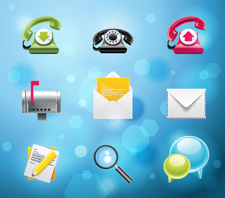 pda: Typical mobile phone apps and services icons. EPS 10 version. Part 1 of 10 Illustration