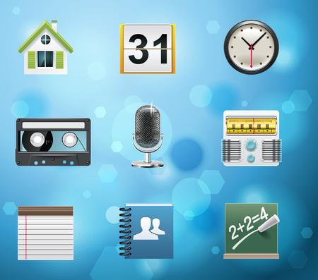 clock radio: Iconos de aplicaciones y servicios de m�vil t�pico. Versi�n de EPS de 10. Parte 2 de 10  Vectores