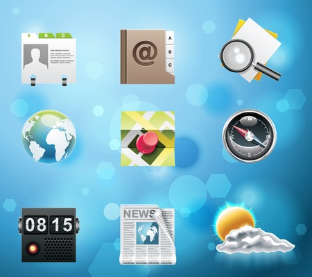 address book: Typical mobile phone apps and services icons. Part 3 of 10