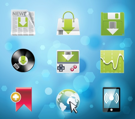 stockmarket chart: Typical mobile phone apps and services icons. Part 4 of 10