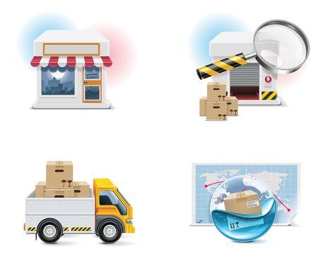 overseas: Conjunto de iconos de compras de vector y elementos. Parte 1