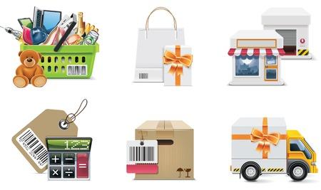 storehouse: Conjunto de iconos de compras de vector y elementos. Parte 2
