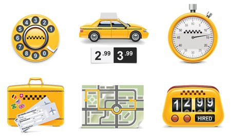 taxi cab: taxi and transportation service icon set. part 1