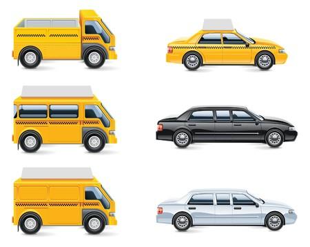 conjunto de iconos de servicio de taxi y el transporte. parte 3  Ilustración de vector