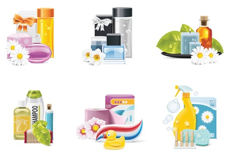 health and beauty supplies icons Vector