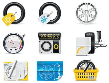 shock absorber: Car service icons.  Tires Illustration