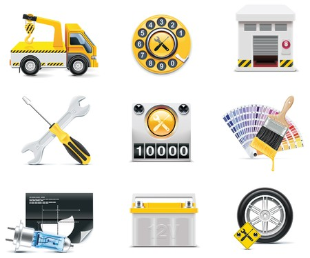 onderhoud auto: Auto service pictogrammen.