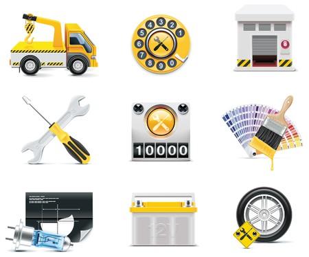 baterii: Samochód usługi ikony.  Ilustracja
