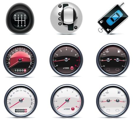 miernik: Samochód usługi ikony.  Ilustracja