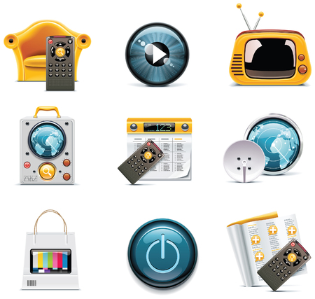 television icons Stock Vector - 8189341
