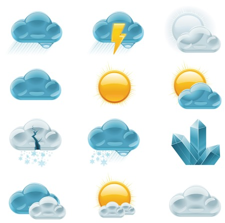 weather forecast icons.   Vector