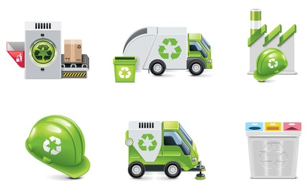 sweeping: trash recycling icon set