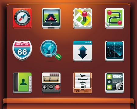 GPS navigation. Mobile devices appsservices icons. Part 1 of 12 Vector