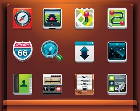 gps navigation: Navegaci�n GPS. Iconos de aplicacionesservicios de dispositivos m�viles. Parte 1 de 12 Vectores
